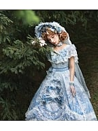 Key to the Fairyland Hime Lolita Dress Flowy Short Lace Sleeves Lolita Dress by Garden Cat