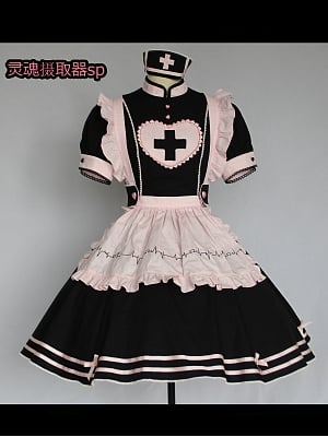 Soul Ingester Nurse Style Lolita Dress OP SP Color by Tibetan Fox and Shiba Inu