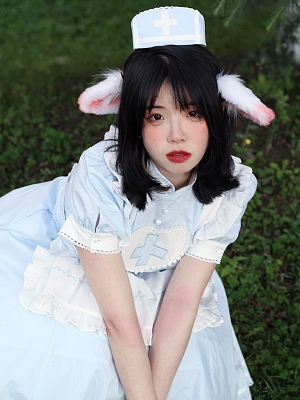 Soul Ingester Nurse Style Lolita Dress Matching Ear Hairclips by Tibetan Fox and Shiba Inu
