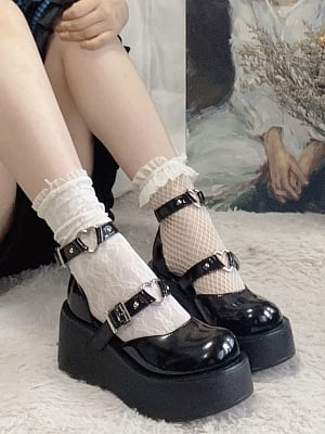 Double Belt Lolita Platform Shoes with by Time Shop