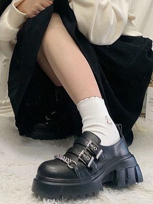 Punk Lolita Shoes with Chain front by Time Shop