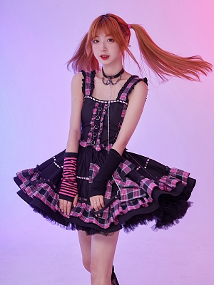 Cute Wide Straps Plaid Top and Big Bowknot Decorated Skirt Set by Evil Tooth