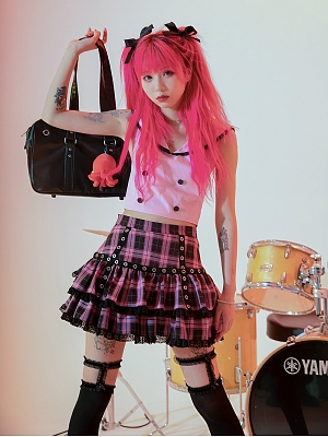 Punk Fashion Plaid Mini Skirt by Evil Tooth