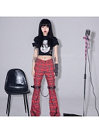 Punk Fashion Plaid Trumpet Pants by Evil Tooth