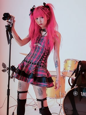 Punk Plaid Straps Dress by Evil Tooth