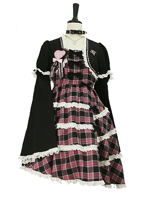 Punk Plaid Removable Sleeves Fake Two-piece Dress by Evil Tooth