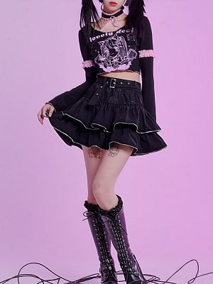 Heavy Metal Cake Punk Skull Mesh Tiered Skirt by Evil Tooth