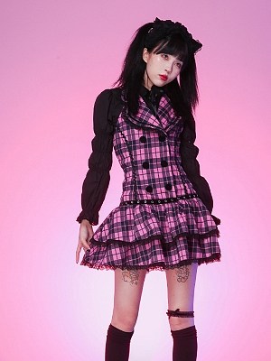 Halter Neckline Plaid Dress by Evil Tooth