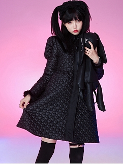 Black Long Quilted Coat by Evil Tooth