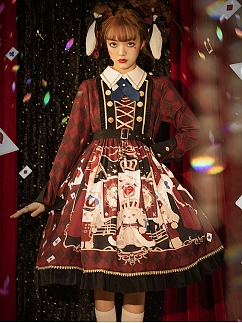Puppy Band Long Sleeve Lolita Dress OP / Train by Honey Machine