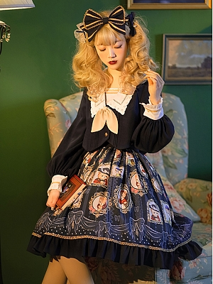 Bear Gallery Lolita Sqaure Collar Top / Prints Skirt Set by Honey Machine