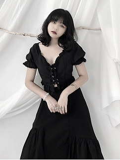 Vintage Black Deep V-neck Short Puff Sleeves Cropped Top by Unspeakable Dark Paranoia