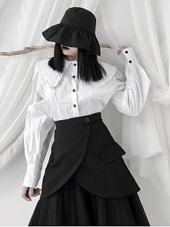 Vintage White Peter Pan Collar Long Sleeves Shirt by Unspeakable Dark Paranoia