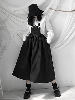 Black Pocket Overall Dress by Unspeakable Dark Paranoia