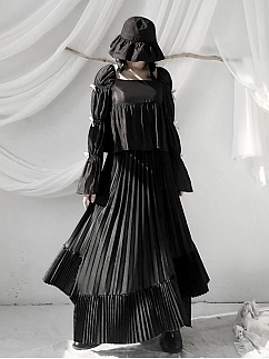 Black Square Neckline Bowknot Virago Sleeves Top by Unspeakable Dark Paranoia