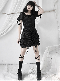 Gothic Black Square Neckline Short Puff Sleeves Drawstring Mini Dress by Unspeakable Dark Paranoia