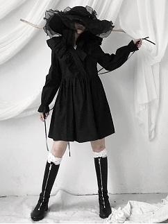 Vintage V-neck Long Sleeves Ruffled Short Dress by Unspeakable Dark Paranoia
