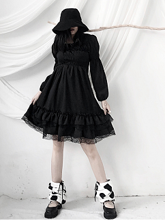 Gothic Square Neckline Long Lantern Sleeves Dress by Unspeakable Dark Paranoia