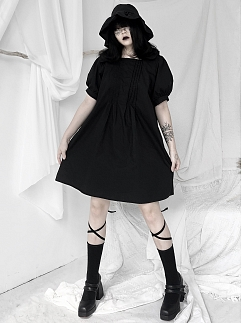 Black Lapel Collar Short Puff Sleeves Dress by Unspeakable Dark Paranoi