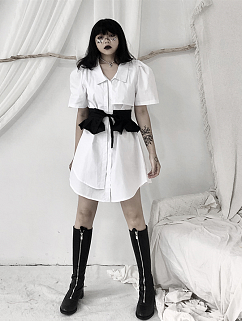White Turndown Collar Short Puff Sleeves Shirt Dress with Girdle by Unspeakable Dark Paranoi