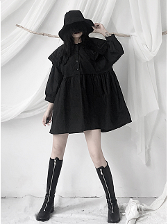 Black Double-layer Peter Pan Collar 3/4 Sleeves Short Dress by Unspeakable Dark Paranoia