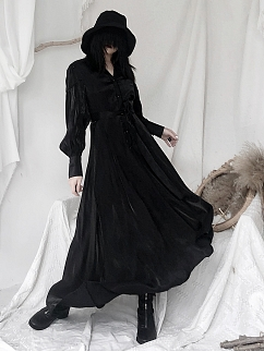 Gothic V-neck Long Sleeves Long Shirt Dress by Unspeakable Dark Paranoia