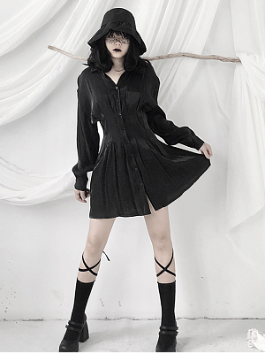 Gothic Turndown Collor Long Sleeves Short Shirt Dress by Unspeakable Dark Paranoia