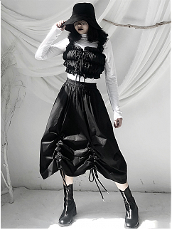 Black Square Neckline Ruched Cropped Tank Top by Unspeakable Dark Paranoia