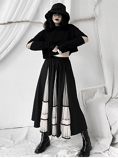 Black Round Neckline Slit Long Sleeves Cropped Top by Unspeakable Dark Paranoia