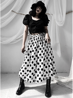 Vintage Square Neckline Short Puff Sleeves Drawstring Cropped Top by Unspeakable Dark Paranoia