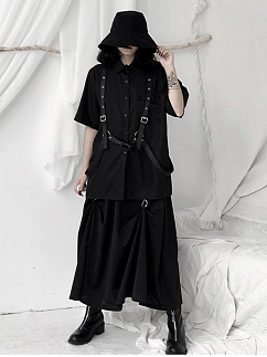 Punk Turndown Collor Short Sleeves Buckle Shirt by Unspeakable Dark Paranoia