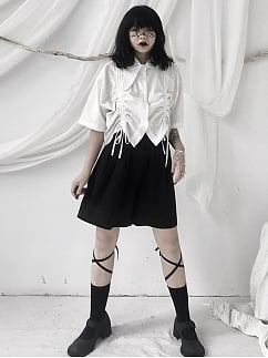 White Asymmetrical Collar Short Sleeves Drawstring Cropped Top by Unspeakable Dark Paranoi