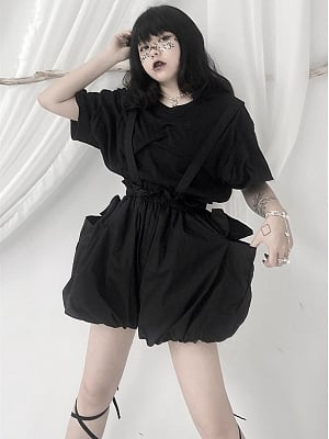 Black High Waist Overall Bloomers by Unspeakable Dark Paranoi