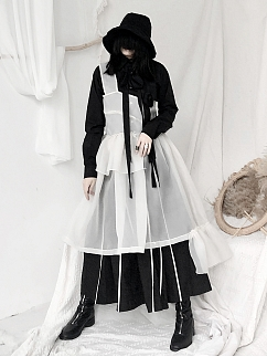 Organza Ruffled One-shoulder Overall Dress by Unspeakable Dark Paranoi