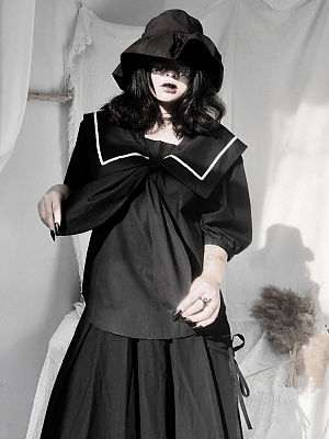 Black Sailor Collor Short Puff Sleeves Top by Unspeakable Dark Paranoi