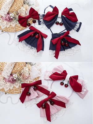 Acerola Cherry Lolita Dress JSK Matching KC / Hairclip / Wristcuffs by Violet A Lolita