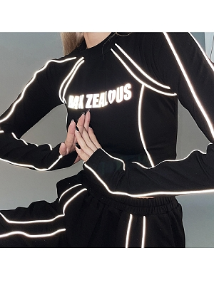 Cyberpunk Reflective Long Sleeves Cropped Top by Violent Groceries