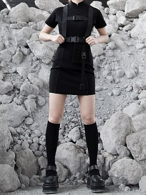 Gothic Stand Collar Short Sleeves Qi Mini Dress With Detachable Webbing Straps by Violent Groceries