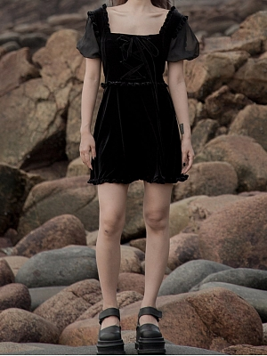 Gothic Velvet Square Neckline Short Puff Sleeves Lace-up Dress by Violent Groceries
