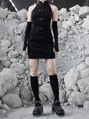 Gothic Stand Collar Side Release Buckle Mini Dress with Arm Warmer by Violent Groceries