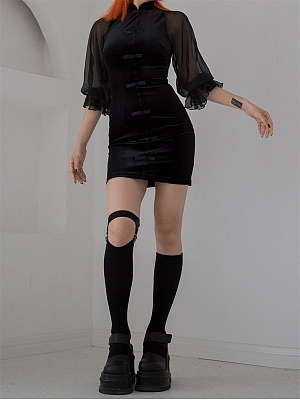 Gothic Velvet Stand Collar 3/4 Lantern Sleeves Qi Mini Dress by Violent Groceries