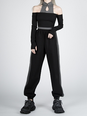 Cyberpunk Future Sense Stand Collar Open Shoulder Long Sleeves Top by Violent Groceries