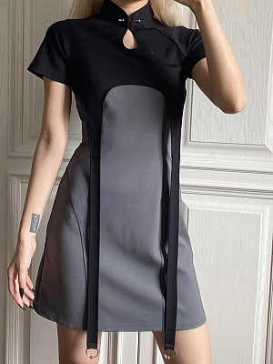 Cyberpunk Future Sense Two-pieces Stand Collar Short Sleeves Cropped Top and Cami Dress by Violent Groceries