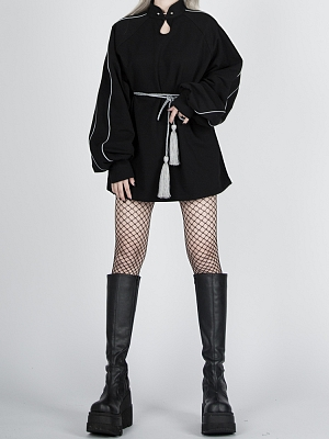 Cyberpunk Reflective Stand Collar Balloon Sleeves Dress with Tassel Belt by Violent Groceries