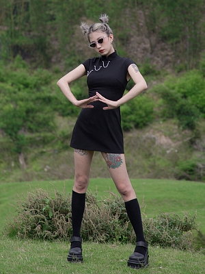 Perforation 2.0 Series Punk Short Sleeves Metal Chain Qi Mini Dress by Violent Groceries