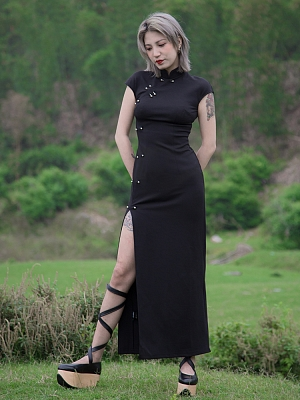Perforation 2.0 Series Punk Stand Collar Short Sleeves High Slit Qi Dress by Violent Groceries