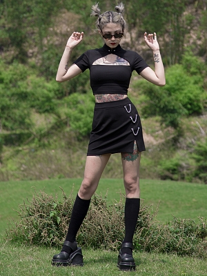 Perforation 2.0 Series Punk Stand Collar Short Sleeves Hollow Out Cropped Top by Violent Groceries