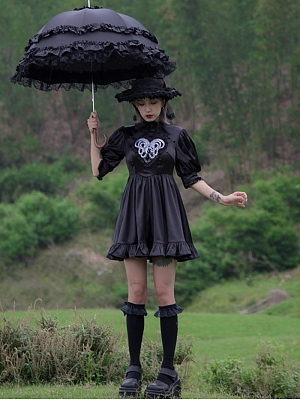 Love of Medusa Gothic Stand Collar Short Lantern Sleeves Embroidered Dress by Violent Groceries