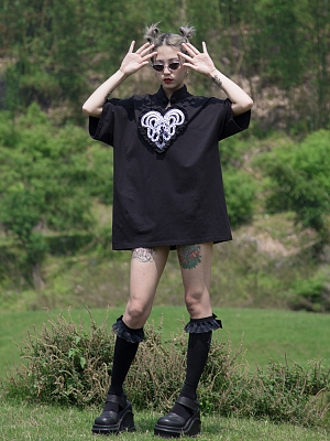 Love of Medusa Gothic Stand Collar Short Sleeves Embroidered T-shirt by Violent Groceries
