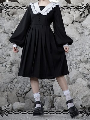 Gothic Rose Thorns Sailor Collar Long Lantern Sleeves Dress by Violent Groceries